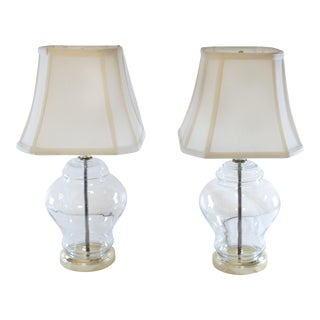 Fillable Ginger Jar Lamps With Shades - A Pair