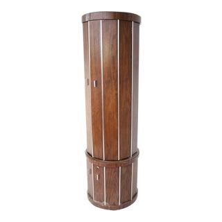 Cylinder Shape Liquor Bar Cabinet Walnut