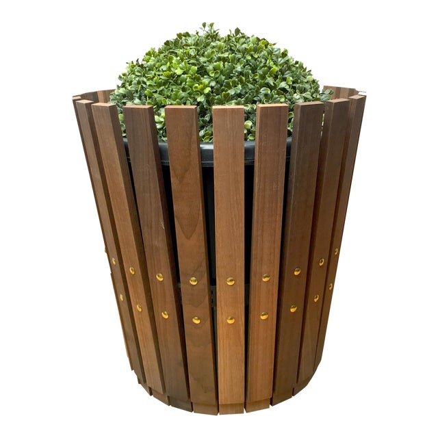 Customizable Plantum Natural American Hardwood Modular Planter Cover with Brass Rivets - Image 1 of 4