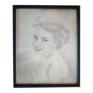 1950's Woman Pencil Drawing 1