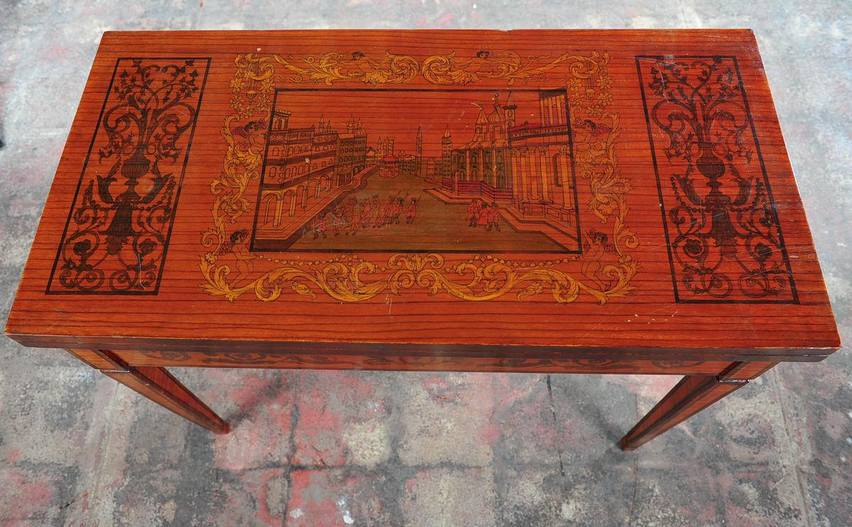 Antique Italian Renaissance Painted Game Table With Lacquered Folding Top    Image 3 Of 10