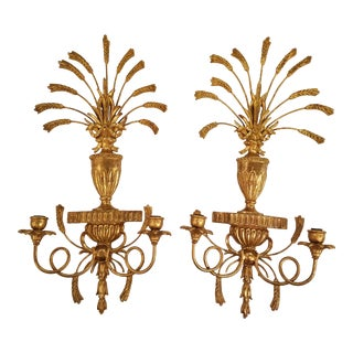 Italian Neoclassical Carved Gold Leaf Wood Urn & Wheat Sconces - A Pair