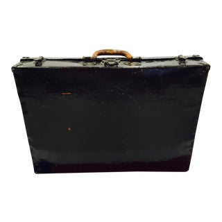 Antique Black Lacquered Suitcase