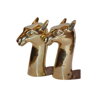 Vintage Sarreid Brass Camel Head Bookends