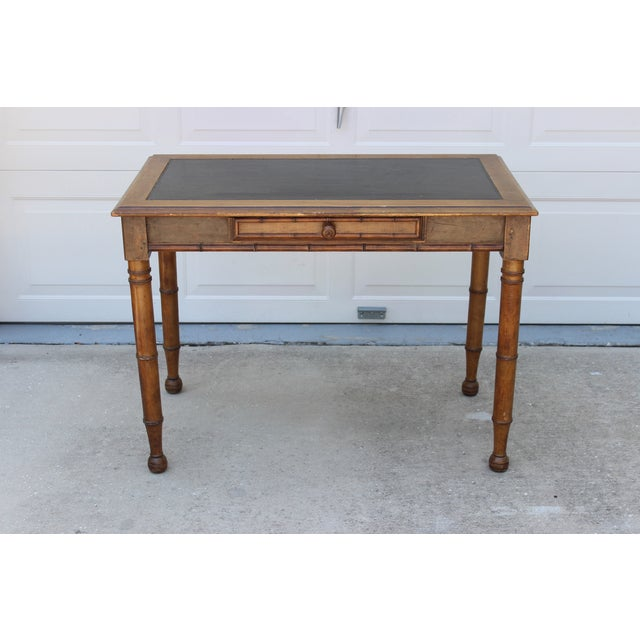 Faux Bamboo Desk with Leather Inlay - Image 4 of 11