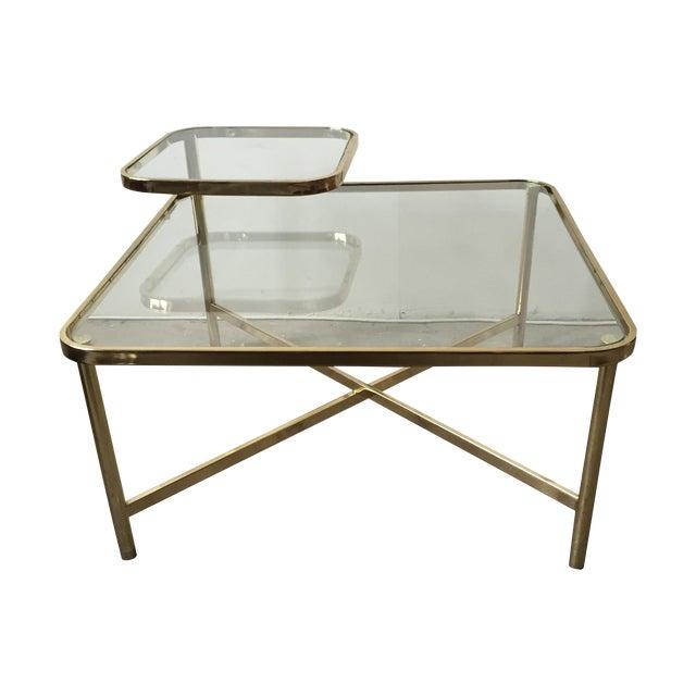 Baughman Style Brass Glass Swivel Coffee Table Chairish