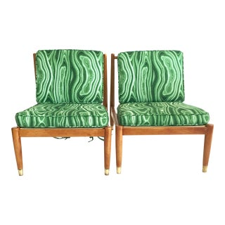 Swedish Mid- Century Beech Wood & Brass Spindle Back Slipper Chairs - a Pair