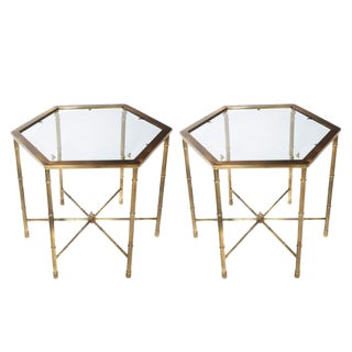 PAIR OF BURNISHED-BRASS HEXAGONAL END TABLES BY MASTERCRAFT, CIRCA 1970S