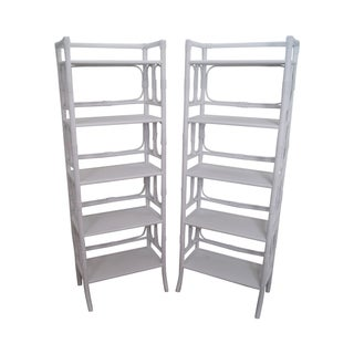 Hollywood Regency White Rattan Bookcases - A Pair
