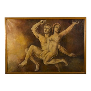 Vintage Dutch Oil painting of Adam and Eve by M. Raemdonck, 1942