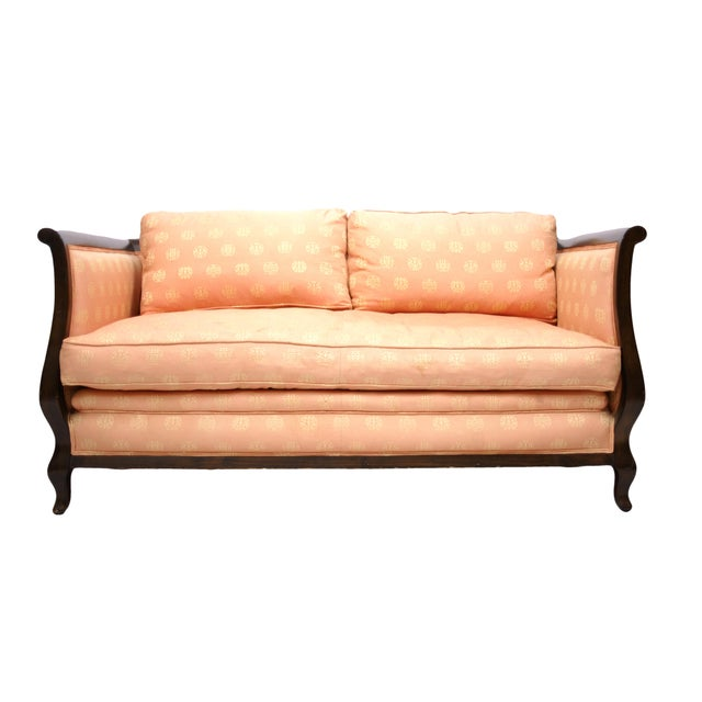 Mid-Century Wood & Asian Upholstery Love Seat - Image 1 of 4