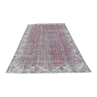 Turkish Anatolian Vintage Red Distressed Rug - 6′2″ × 9′5″