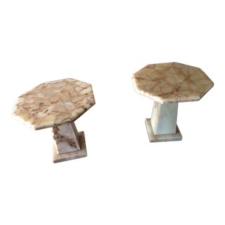 Mid-Century Modern Arturo Pani Octagonal Onyx Coffee Tables - a Pair /Stone ,Marble