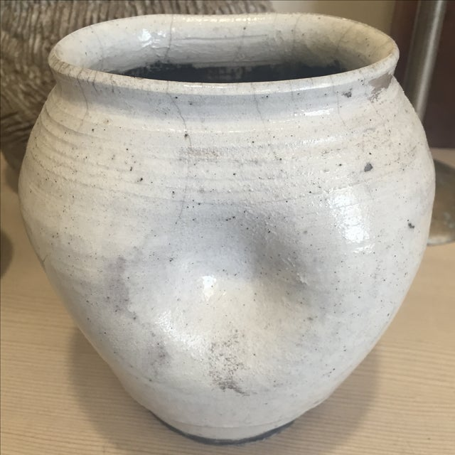 Vintage White Raku Pot Planter - Image 7 of 7