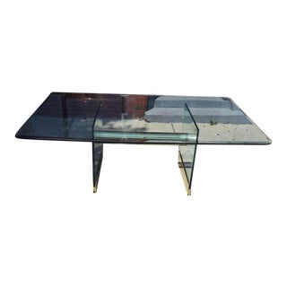 Monumental Long Glass Pace Dining Table or Desk