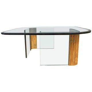 Asymmetrical Brass & Glass Coffee Table