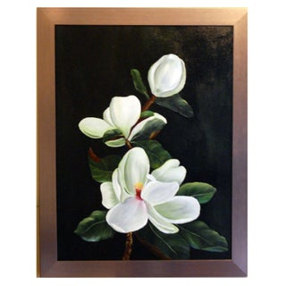 Framed Oil Painting of Magnolias
