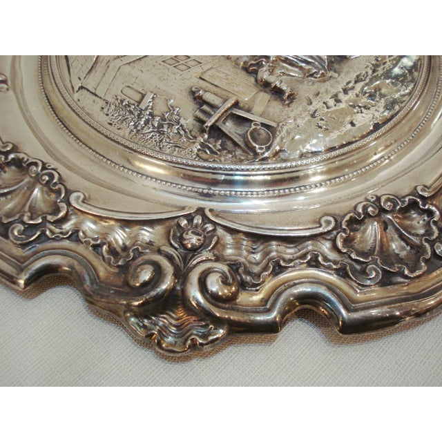 Image of Large French Silver Wall Plate - Villager Feast