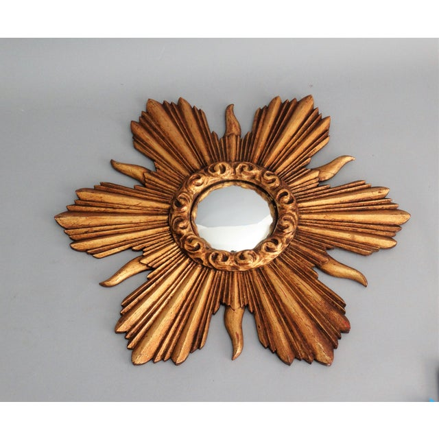 French Carved Gilt Wood Convex Sunburst Mirror - Image 3 of 7