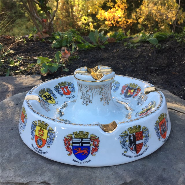 Vintage Ansbach German Crest Gold Ash Tray - Image 3 of 7