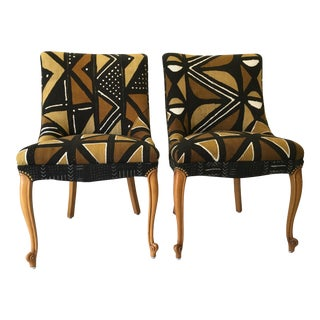 Mali Mudcloth Upholstered Dining Chairs - A Pair