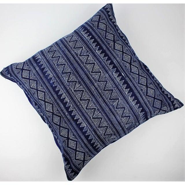 Hmong Zigzag Indigo Batik Handmade Pillow Cover - Image 3 of 6