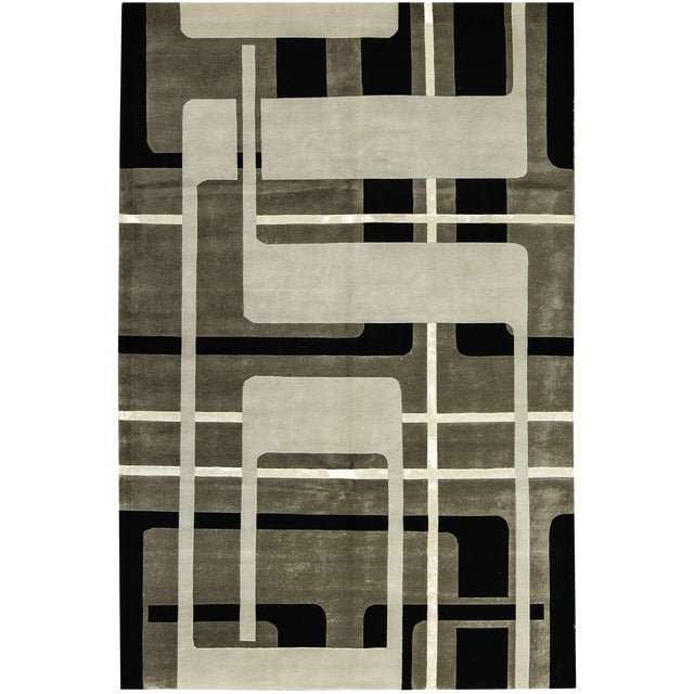 """Contemporary Hand Woven Rug - 6' x 9'3"""" - Image 1 of 3"""