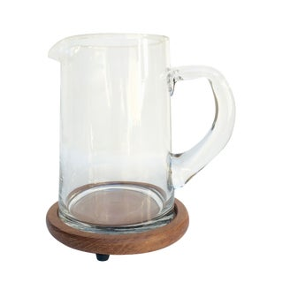 Vintage Cocktail Pitcher With Teak Coaster Base
