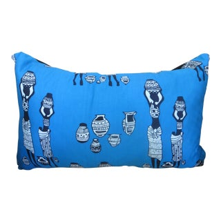 Blue African Print Lumbar Pillow