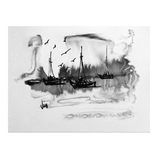 1960s Petit Modernist Seascape in Ink