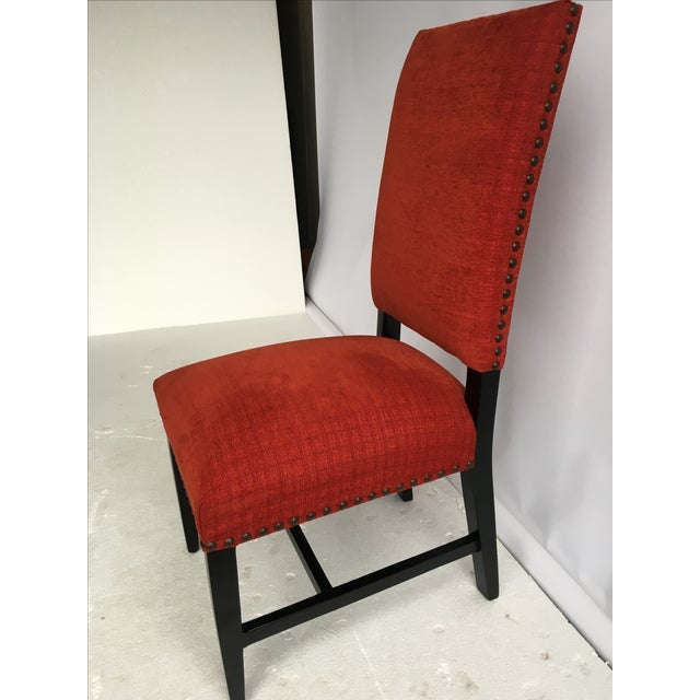 Transitional Red Chenille Dining Chairs - Set of 4 - Image 5 of 11