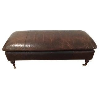 Restoration Hardware Leather Club Bench Ottoman