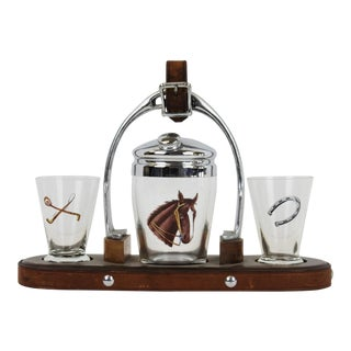 Cocktail Tray, Horse Head Shaker & Shot Glasses - Set of 4