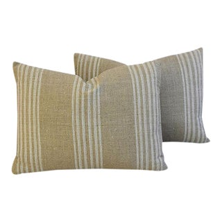 "20"" X 15"" Custom Tan & White French Ticking Feather/Down Pillows - Pair"