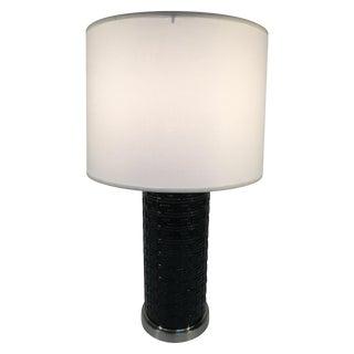 Black Glass Greek Key Lamp