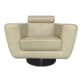 Modern Beige Leather Swivel Club Chair