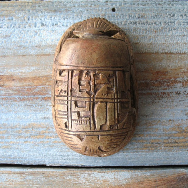 Image of Vintage Egyptian Stone Scarab with Carved Glyphs