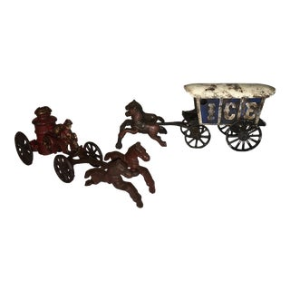 Vintage Cast Iron Toy Fire Cart & Ice Cart - A Pair