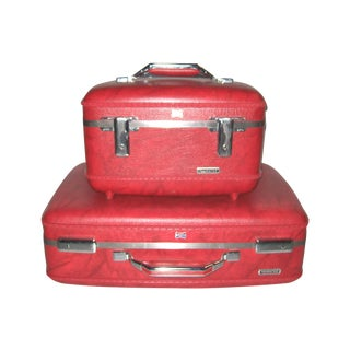 Red Suitcase and Train Case - Pair