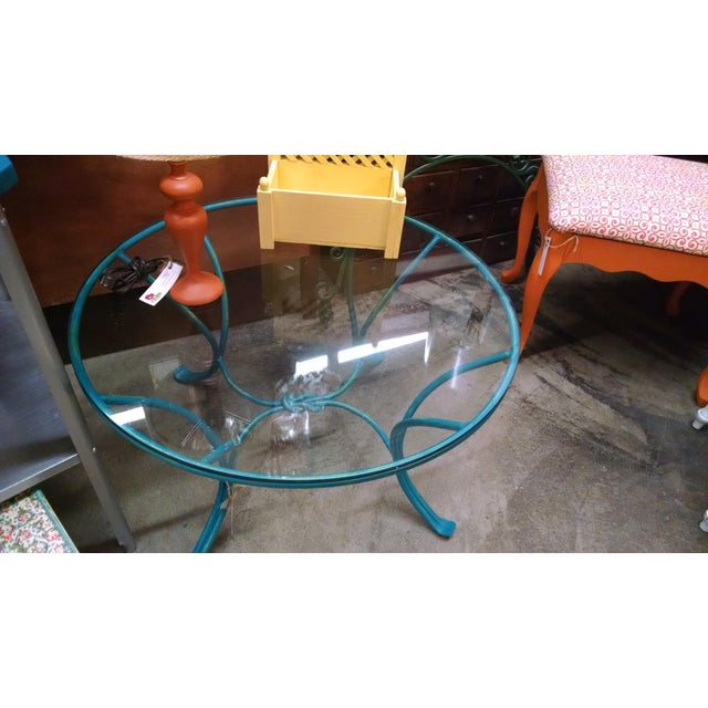 Image of Wrought Iron Glass Top Coffee Table
