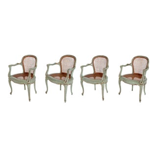 Set of 4 Italian Caned Polychrome Fauteuils