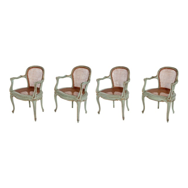 Set of 4 Italian Caned Polychrome Fauteuils - Image 1 of 11