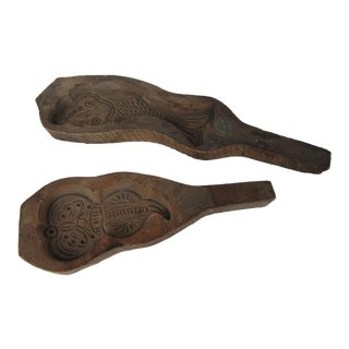 Hand Carved Primitive Butter Molds - A Pair