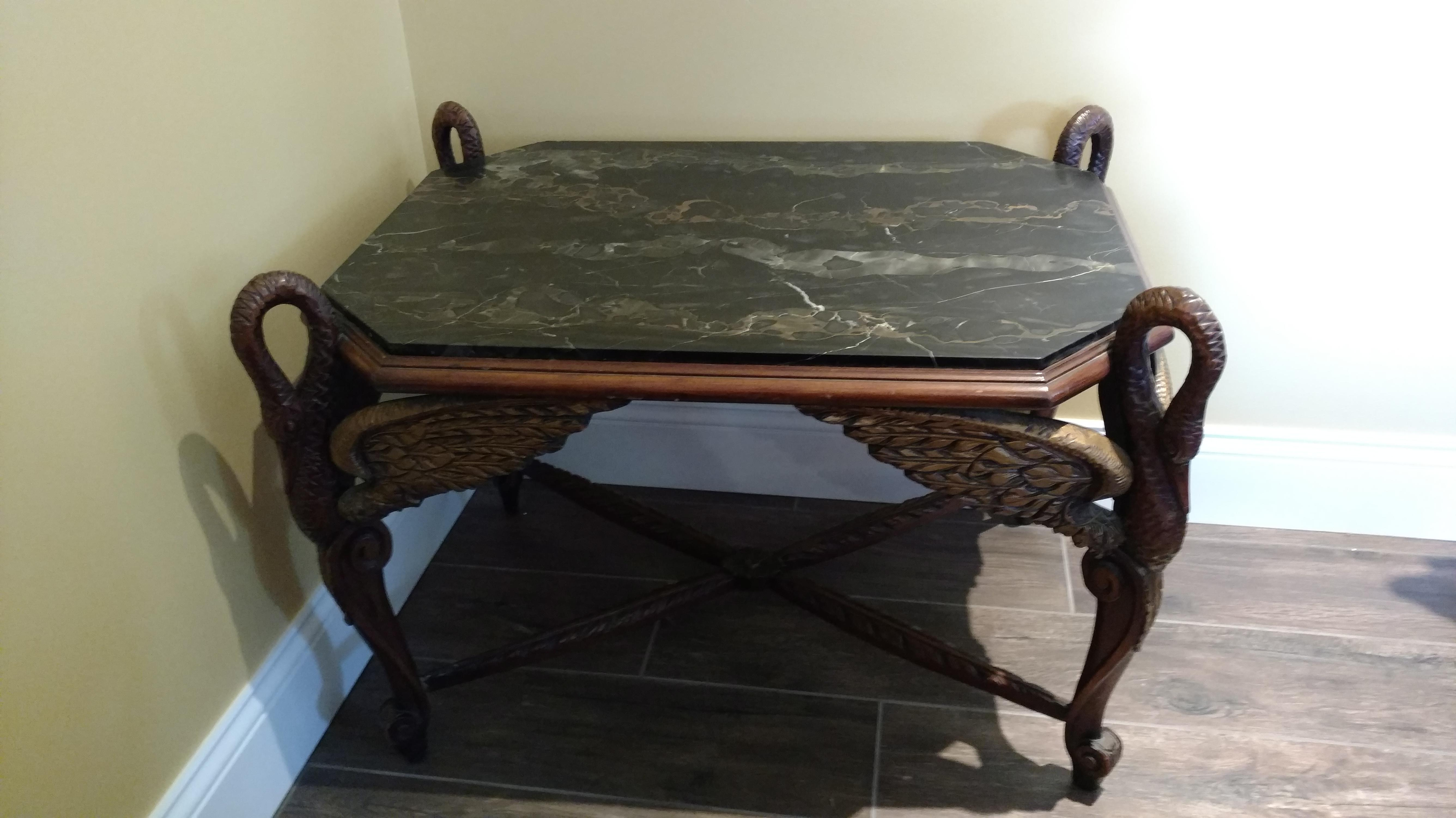 Antique Black Marble Top Wood Carved End Table   Image 2 Of 5