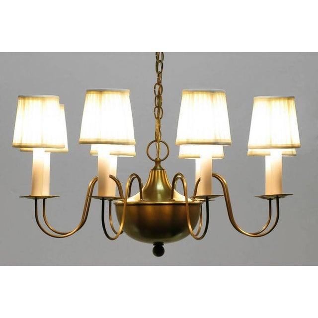 Fine Hand-Spun Brass Eight-Light Chandelier with Delicate Arms - Image 4 of 9