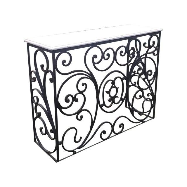 art nouveau vintage wrought iron bar console chairish. Black Bedroom Furniture Sets. Home Design Ideas