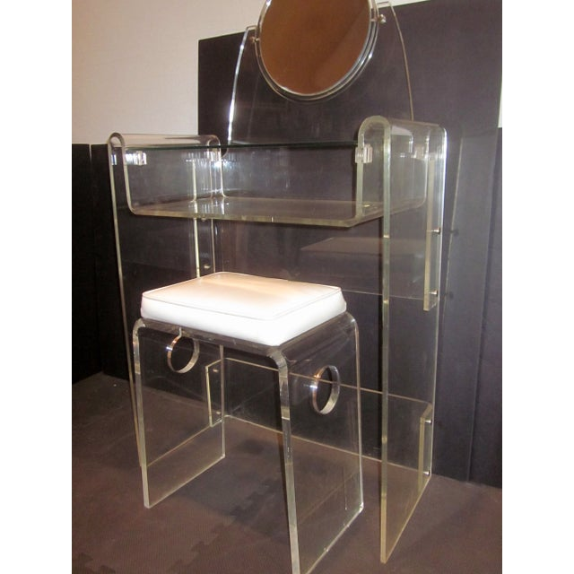 Image of Lucite Vanity Stool Mirror Hollywood Regency