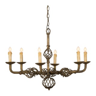 Gilded, Forged Iron Six Light Vintage French Chandelier circa 1930
