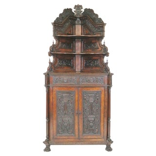 19th C. Continental Carved Walnut Corner Cabinet