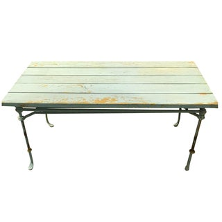 Shabby Seafoam Wood And Metal Coffee Table